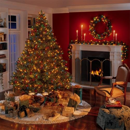 Christmas Living Room Christmas Tree Near the Fireplace Architecture etHHMAUe