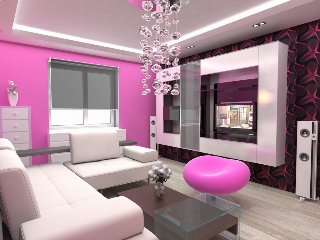 Modern style on pink sofas architecture interior design for Modern apartment living room