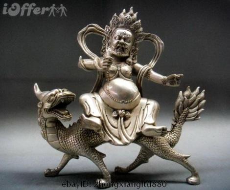 Tibetan Silver White Jambhala Buddha Ride Dragon statue