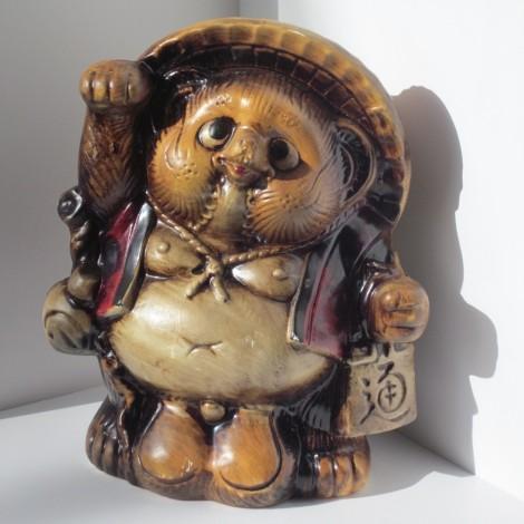 Vintage cast porcelain Japanese Tanuki statue MATURE