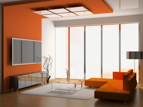 shelving-units-for-orange-paint-color-living-room-with-modern-ceiling-design-idea